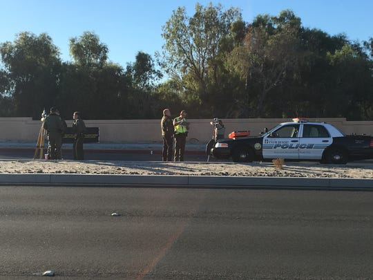 Riverside County sheriff's deputies block eastbound Ramon Road in Rancho Mirage after a bicyclist was hit by a car.