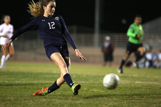 La Quinta's Bella Fakehany makes a shot on goal during the game against Rancho Mirage in La Quinta on Wednesday, December 12, 2018. La Quinta won 4-1.