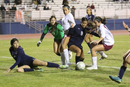 La Quinta stops Rancho Mirage from scoring late in the second half in La Quinta on Wednesday, December 12, 2018. La Quinta won 4-1.