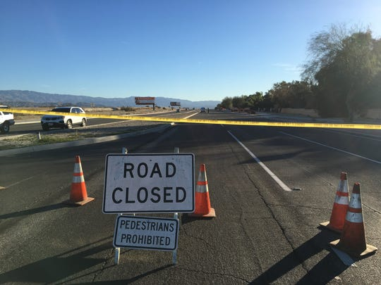 This photo from Dec. 13, 2018 shows a road block at Ramon Road in Rancho Mirage. A bicyclist was killed after being hit by a car and its driver is one of two men who were recently charged with vehicular manslaughter.