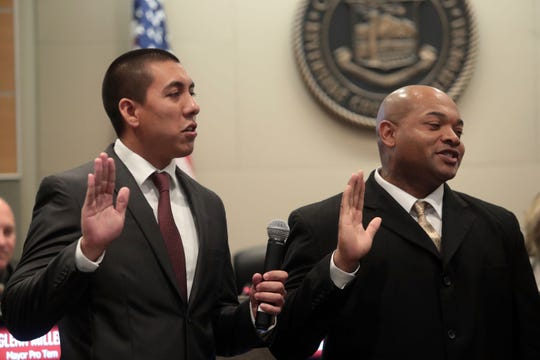 Oscar Ortiz and Waymond Fermon are sworn in as Indio City Council members on Wednesday, December 12, 2018 in Indio.
