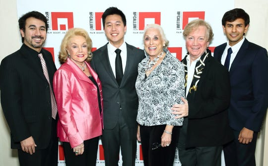 Pianist Scott Cuellar, Co-founder and Board Waring Chairman Peggy Cravens, pianist Evan Lin,  Board President Sandra Woodson, Artistic Director John Bayless, and pianist Vijay Venkatesh.