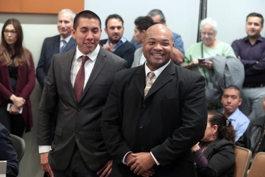 Newly elected Indio City Council members Oscar Ortiz and Waymond Fermon at the city council meeting on Wednesday, December 12, 2018 in Indio where they were sworn in.