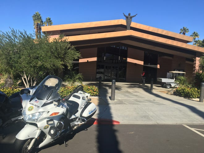 A police presence is seen at Sacred Heart Catholic Church in Palm Desert after emailed threats were reported in the valley and across the United States. (Dec. 13, 2018)