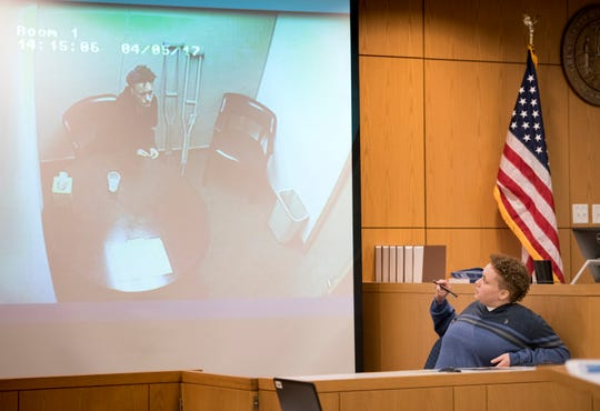Desiree Tedder testifies Thursday during her trial at the Escambia County Courthouse in Pensacola. Tedder faces one count of murder in the death of Drulmauert Depodrek Mims.