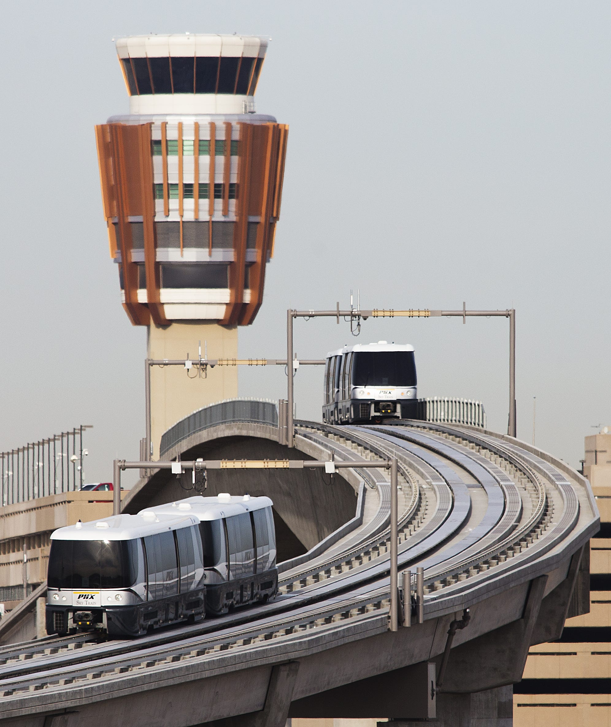 The automated PHX Sky Train system now connects the 44th Street and Washington Street light-rail stop to Terminal 3 and Terminal 4.