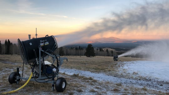 When winter won't arrive, Arizona Snowbowl makes its own. The ski resort uses over three dozen of these 'snow guns' to cover its slopes in artificial flakes.