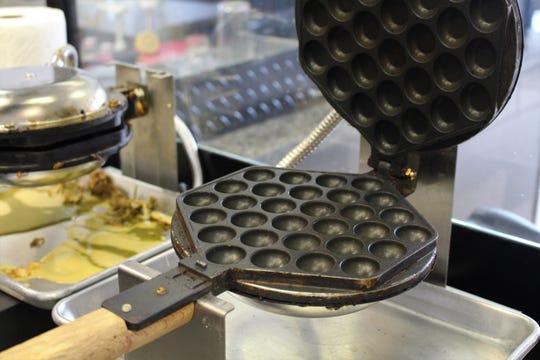 The waffle iron at Genbu Waffles in Mesa.