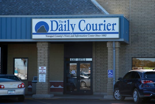 This Nov. 19, 2018, photo shows an entrance of the Prescott Daily Courier, owned by Joseph Soldwedel, in Prescott, Ariz. Soldwedel and his wife Felice Soldwedel are locked in a bizarre divorce dispute that includes allegations of poisoning.