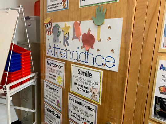 An attendance reminder hangs in Angela Bonn's fifth-grade class at Indian Oasis Intermediate School. If every student has perfect attendance five days in a row, the class gets to have a popcorn party.