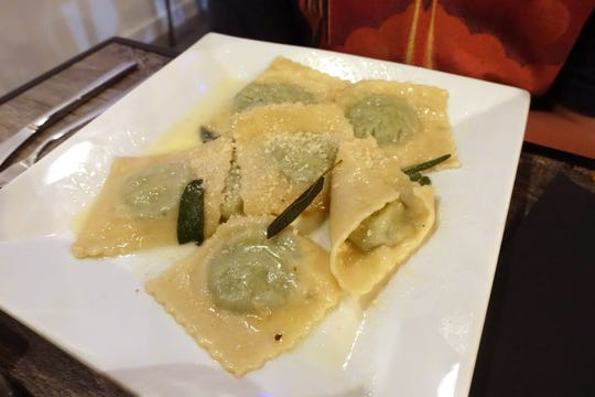 Ricotta and spinach ravioli with butter, sage and Parmigiano at Mimi Forno Italiano in Laveen Village.