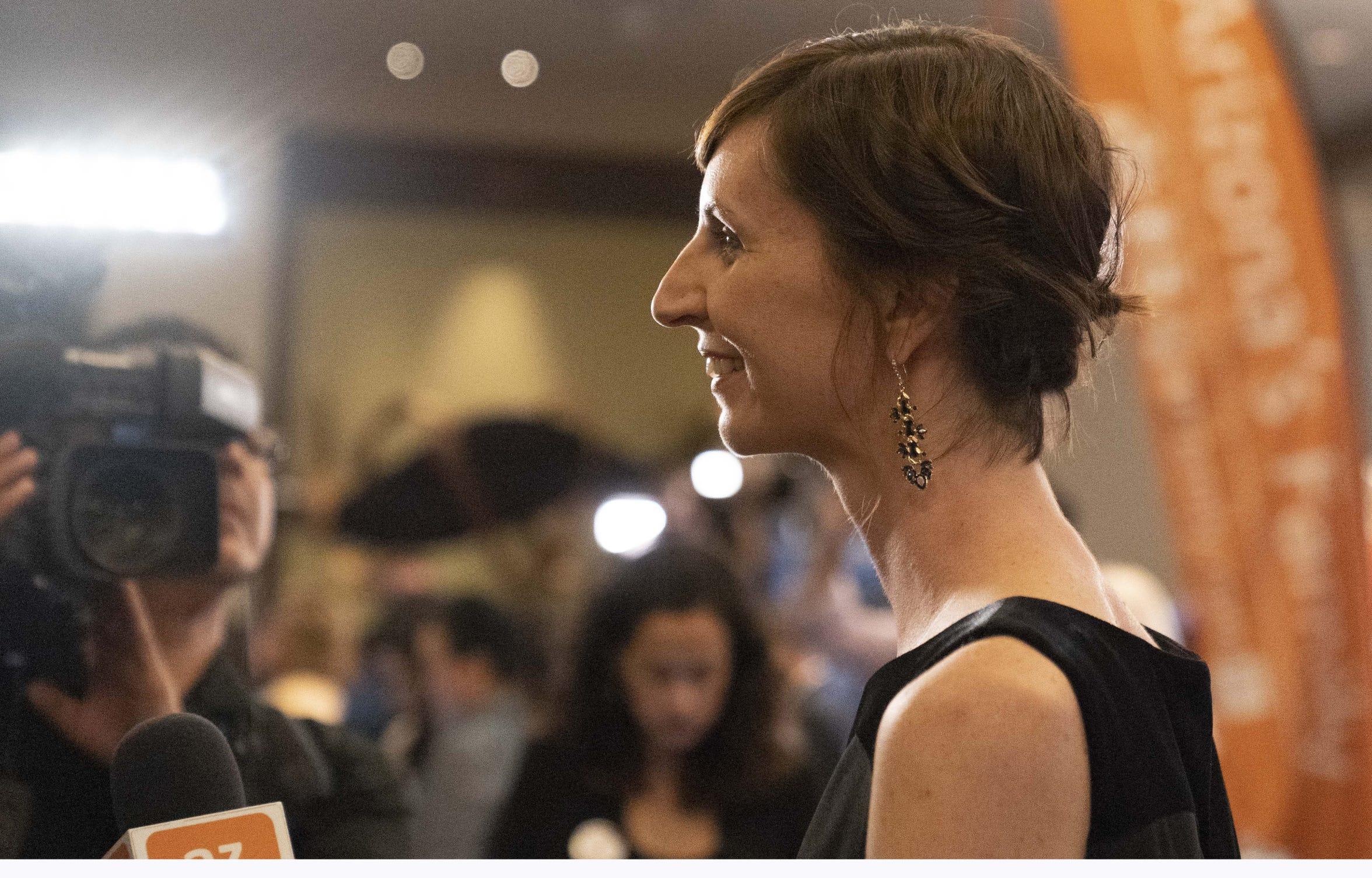 Kathy Hoffman, superintendent-elect, talks to media at the Renaissance Phoenix Downtown Hotel on Nov. 6, 2018.