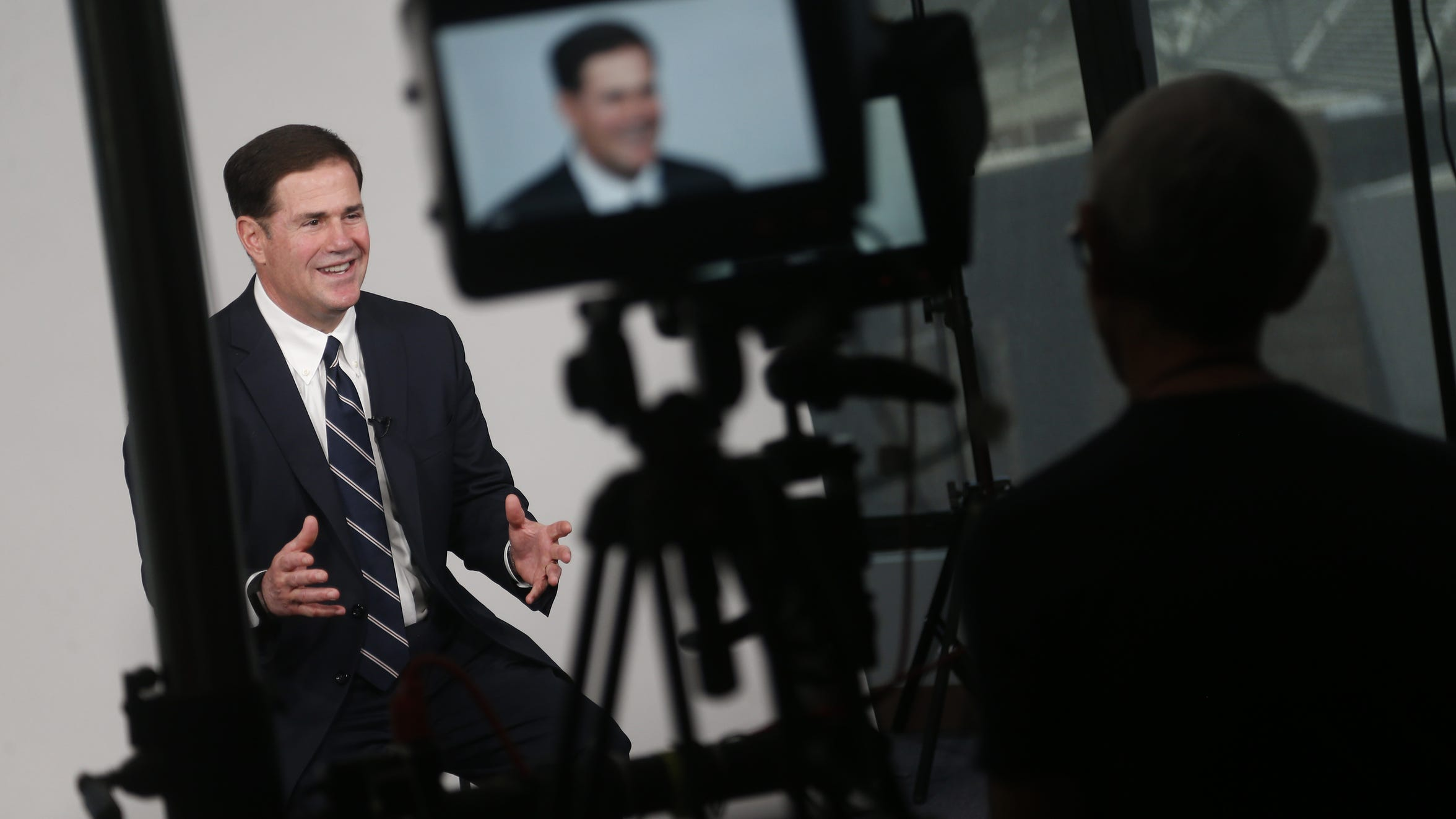Gov. Doug Ducey sits down for an interview at The Arizona Republic in Phoenix on July 27, 2018.