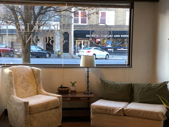 Comfortable seating and a view of downtown Lebanon at Wrinkle & Boon, a new coffee shop and store located on Ninth Street.