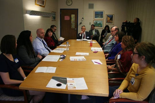 David Volkman, deputy secretary of the Pennsylvania Department of Education, met with school leaders and advocates on Thursday at the Chambersburg Area Middle School South.