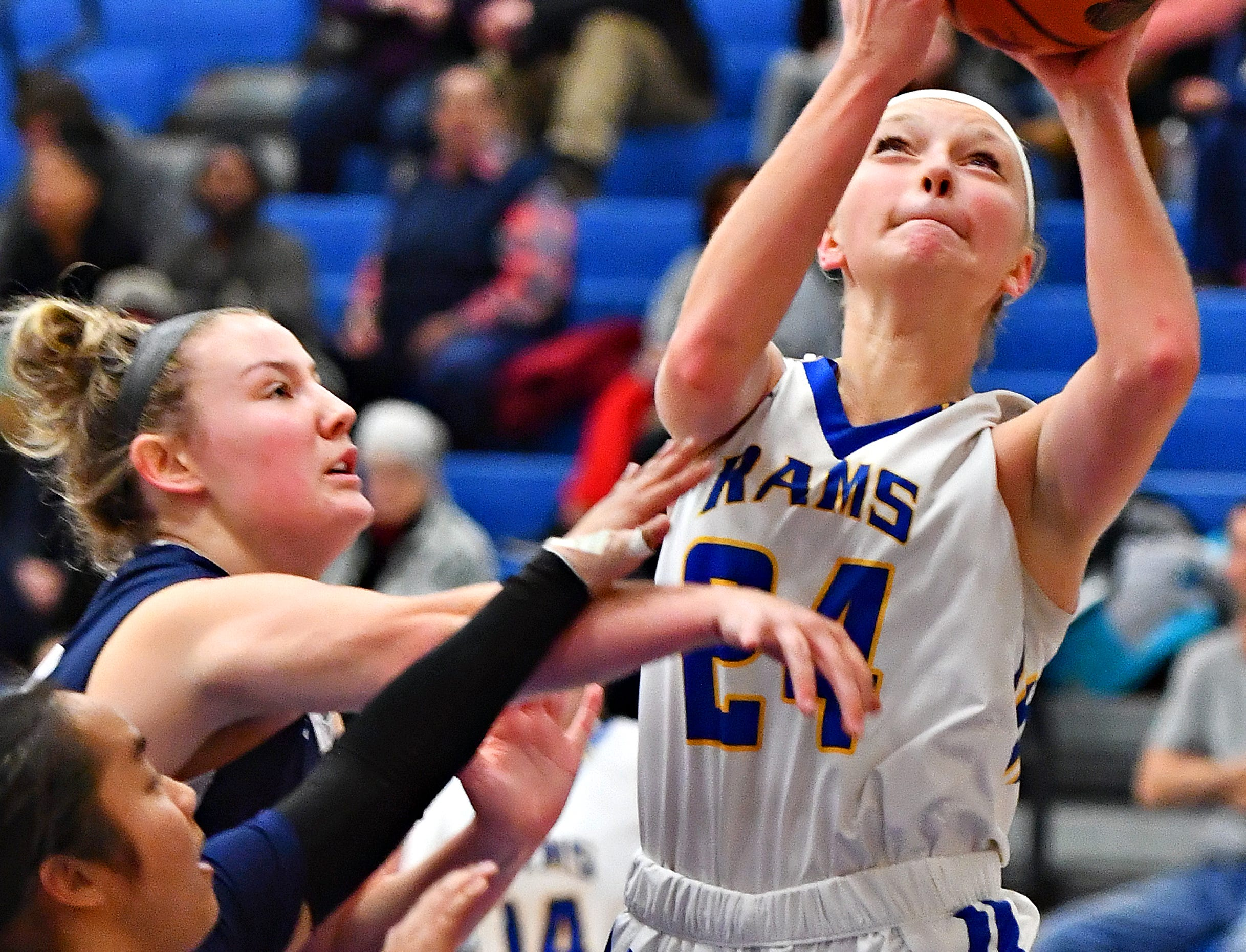 Kennard-Dale's Lexie Kopko takes the ball to the basket during girls' basketball action against Camp Hill at Kennard-Dale High School in Fawn Grove, Wednesday, Dec. 12, 2018. Kennard-Dale would win the game 47-28. Dawn J. Sagert photo