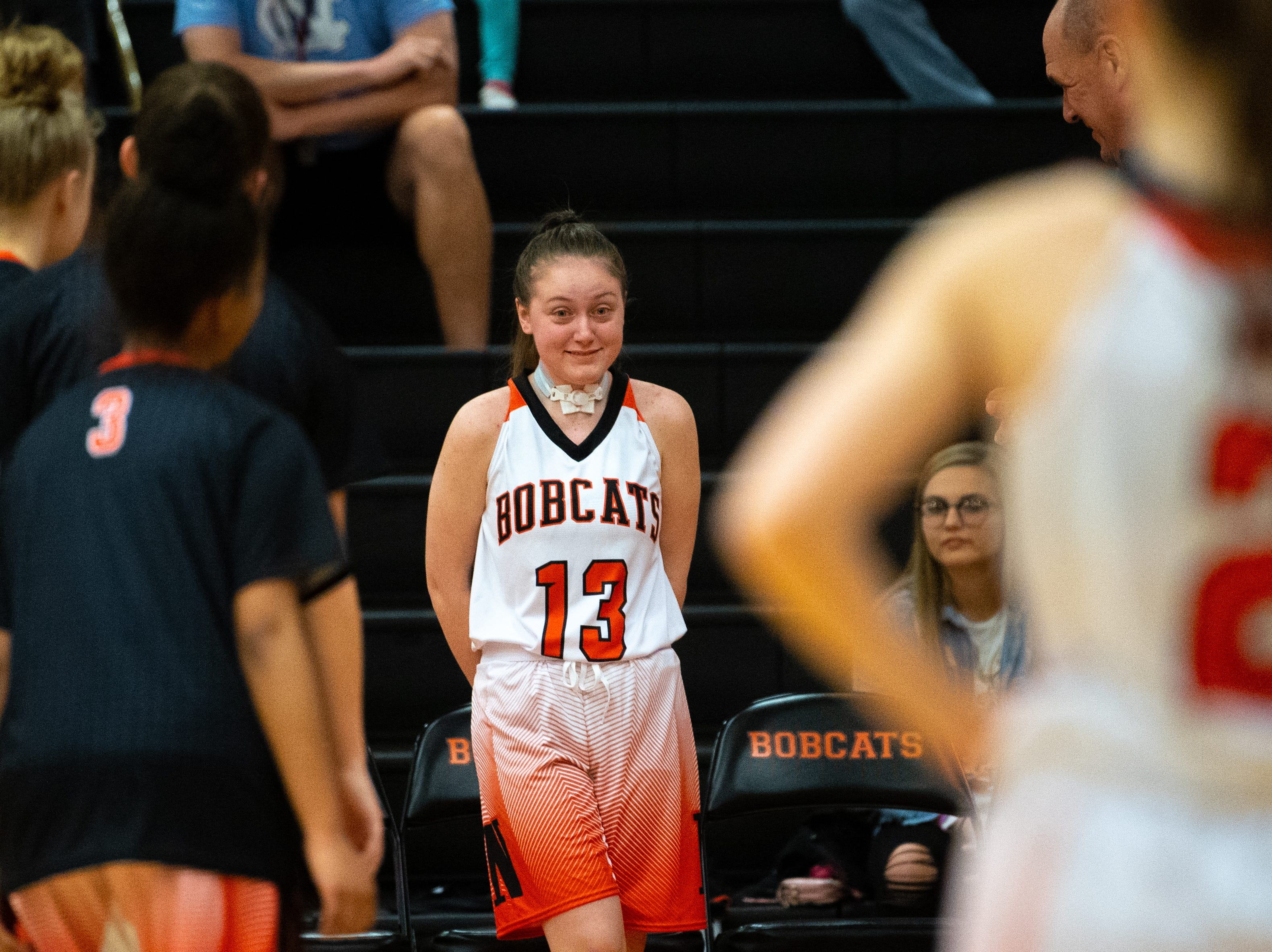 Audrey Johnson (13) receives a heartfelt introduction before the game against Cocalico, December 12, 2018.