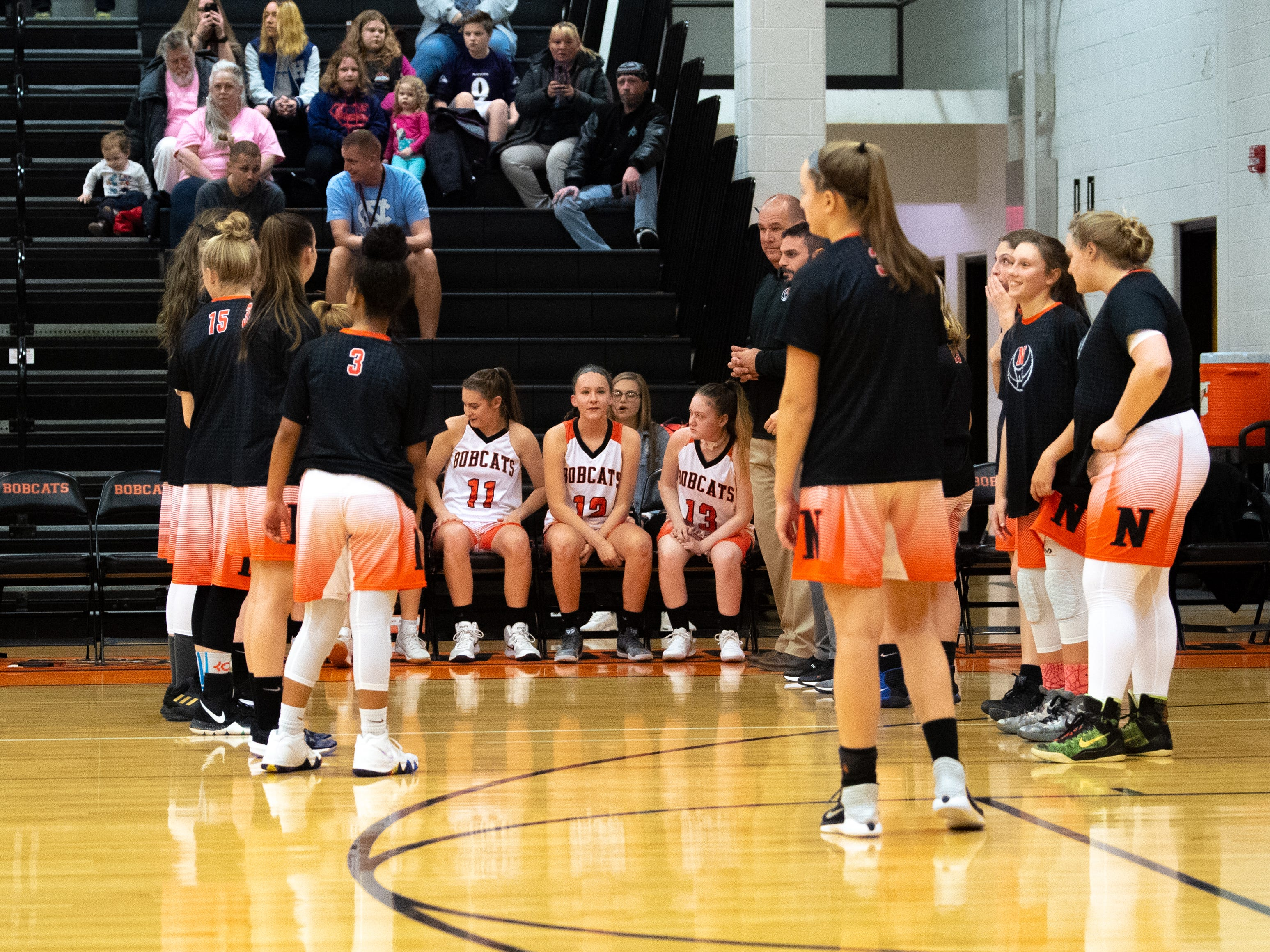 Northeastern's starters prepare to be called before their game against Cocalico at Northeastern High School, Wednesday, December 12, 2018.