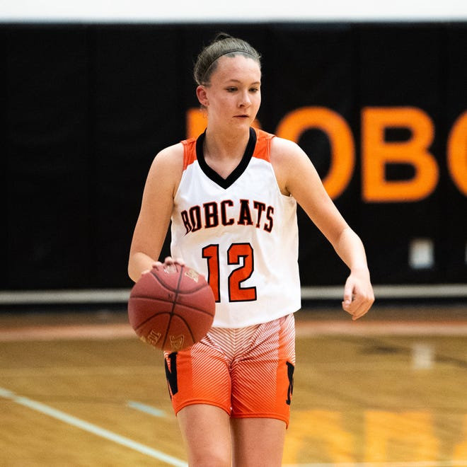 Jordyn Jennings (12) brings the ball up during their game against Cocalico, December 12, 2018.