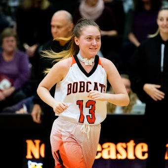 Northeastern junior Audrey Johnson has recovered from acute disseminated encephalomyelitis and returned to the court Wednesday, Dec. 12, 2018.