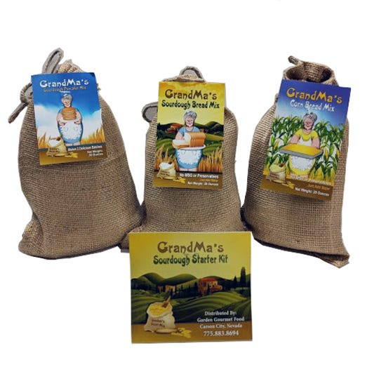 GrandMa's mixes are made in Carson City and feature pancake and cornbread mixes and sourdough mix and starter kit.