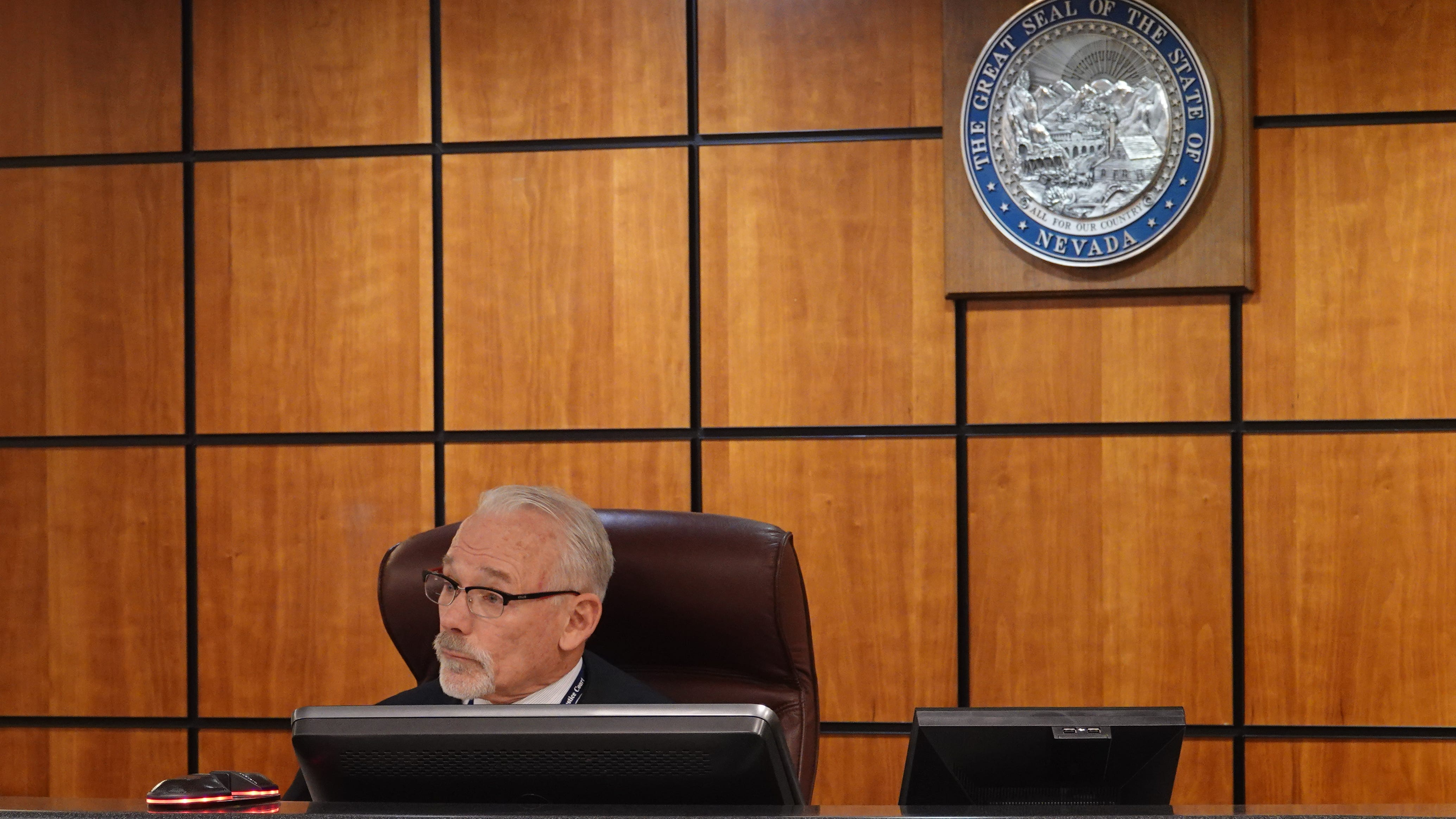 Judge Pierre Hascheff in Reno Justice Court on Dec. 13, 2018. Hascheff ordered an animal rights activist to stay away from a state bear biologist.
