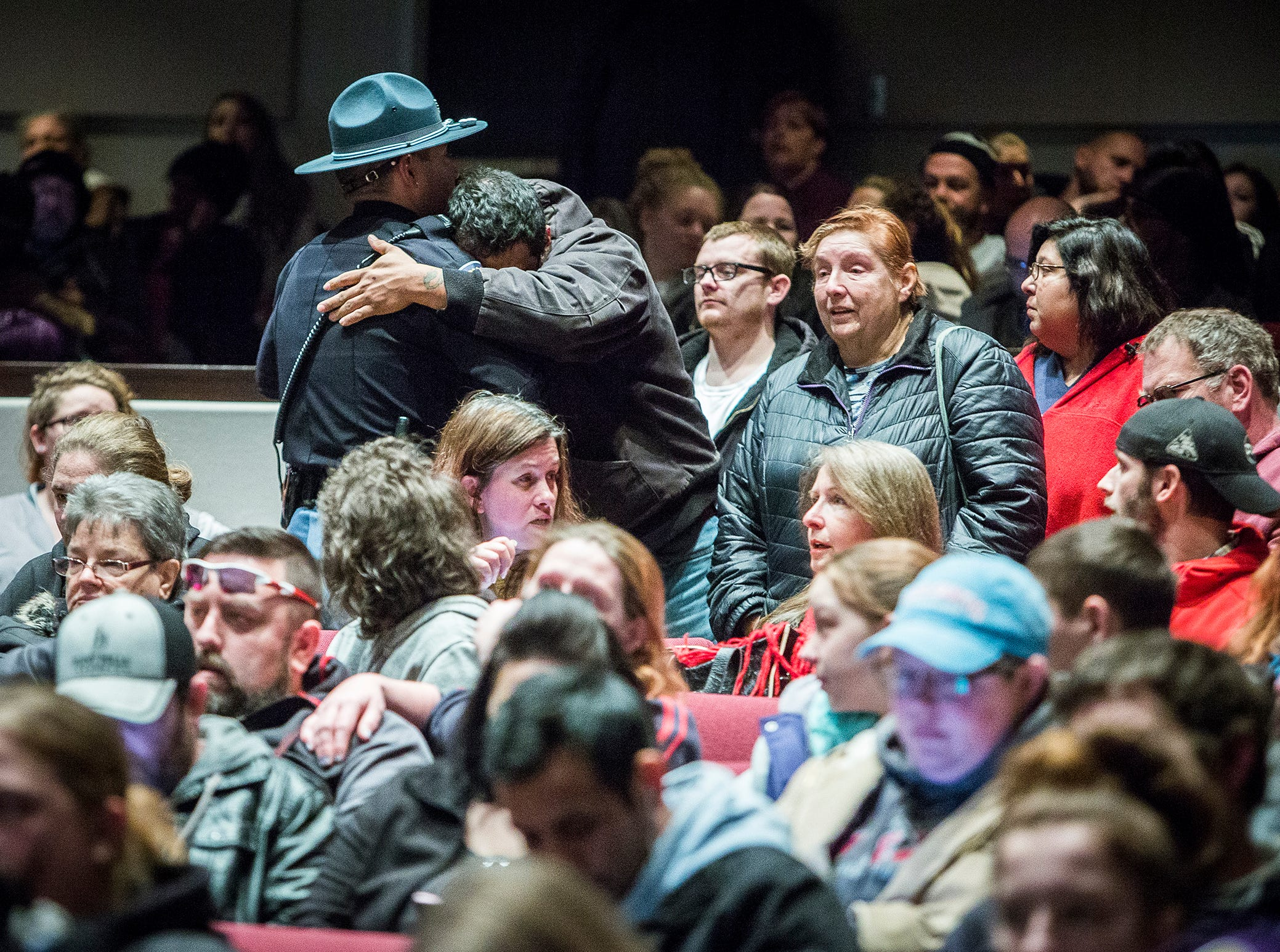 Hundreds of families packed into the Civic Hall Performing Arts Center to wait for their child's name to be called by school officials after a shooting took place at Dennis Intermediate School Thursday morning.
