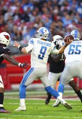 Detroit Lions quarterback Matthew Stafford struggled against the Arizona Cardinals.