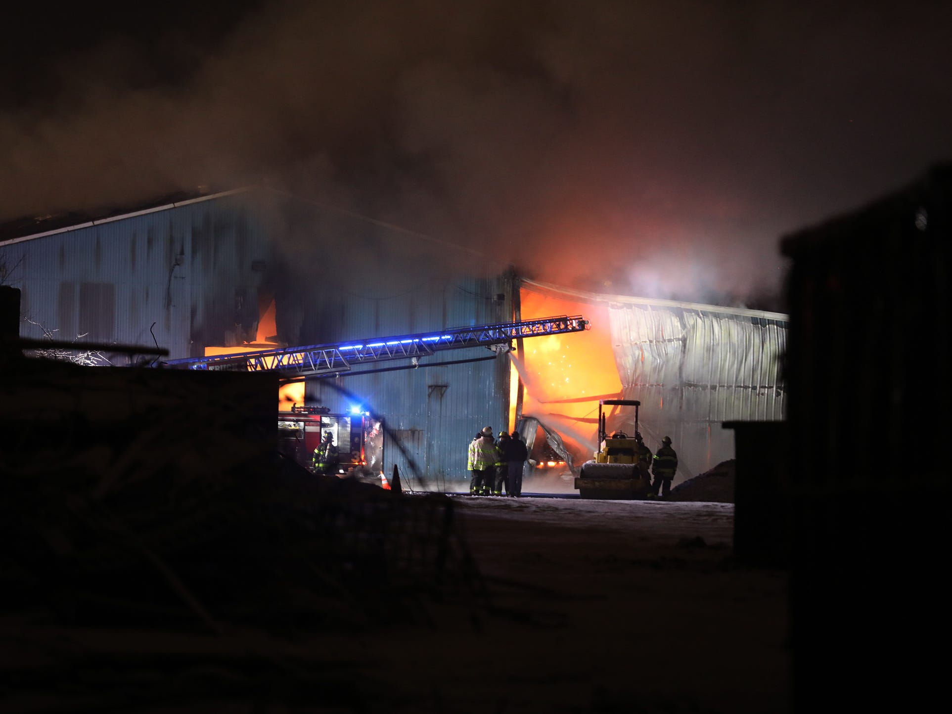 Flames engulfed the entire interior of the building.
