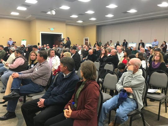 More than 200 people attended a Dec. 12, 2018 meeting in Redding to take comment for an environmental analysis of the effects of raising the height of Shasta Dam.