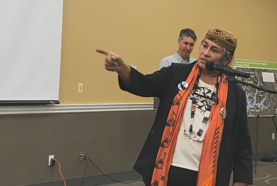Caleen Sisk, chief of the Winnemen Wintu Tribte, speaks during a meeting Tuesday on a proposal to raise the height of Shasta Dam.