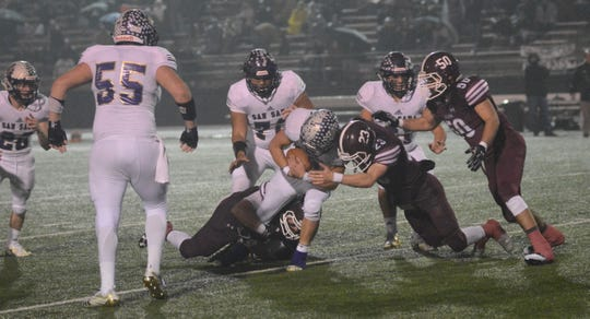San Saba powers its way into the end zone during the Armadillos' 31-17 win over De Leon on Dec. 6 in a Class 2A Division I state quarterfinal game at Gordon Wood Stadium in Brownwood.