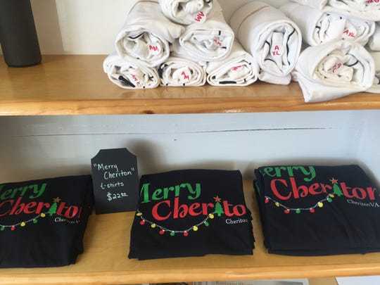 Merry Cheriton T-shirts are for sale at The Local in Cheriton, Virginia on Thursday, Dec. 13, 2018.