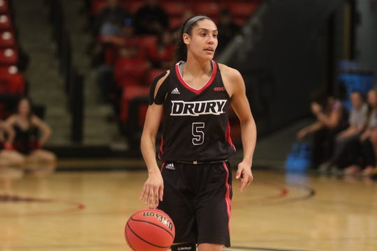 Junior Daejah Bernard is the heart of Drury's full-court pressure. The 5-foot-7 guard is constantly in motion.