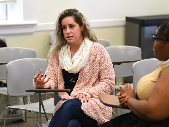 Senior Brianna Shears of Mary Baldwin University shares her observations related to elementary students she works with during a weekly seminar class, for the interns participating in the See The Girl program, at the university on Dec. 5, 2018.  The program pairs MBU student interns with female students at Staunton elementary schools.
