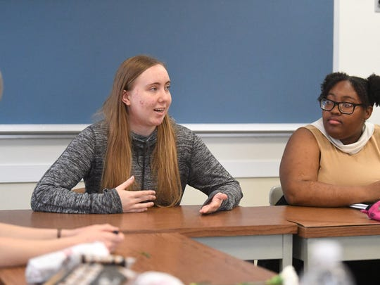 Senior Sarah Lawson of Mary Baldwin University shares observations related to elementary students she works with during a weekly seminar class, for the interns participating in the See The Girl program, at the university on Dec. 5, 2018.  The program pairs MBU student interns with female students at Staunton elementary schools.