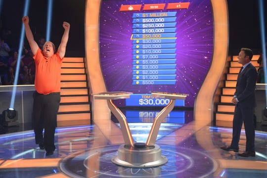 """A photo from the production of """"Who Wants To Be A Millionaire"""" with host Chris Harrison on July 13, 2018, in Las Vegas, Nevada."""