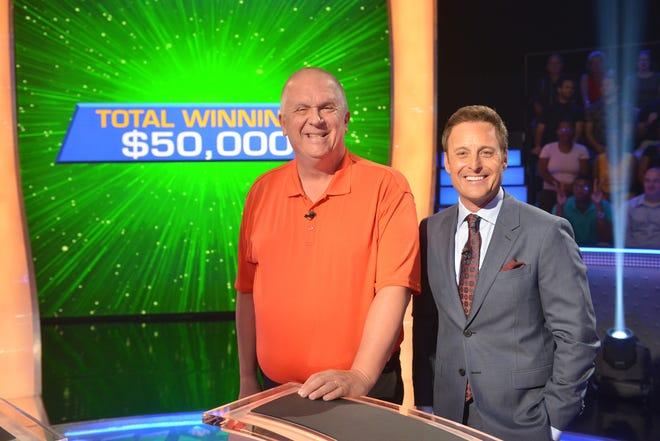 "A photo from the production of ""Who Wants To Be A Millionaire"" with contestant Tom Zulewski and host Chris Harrison on July 13, 2018, in Las Vegas, Nevada."
