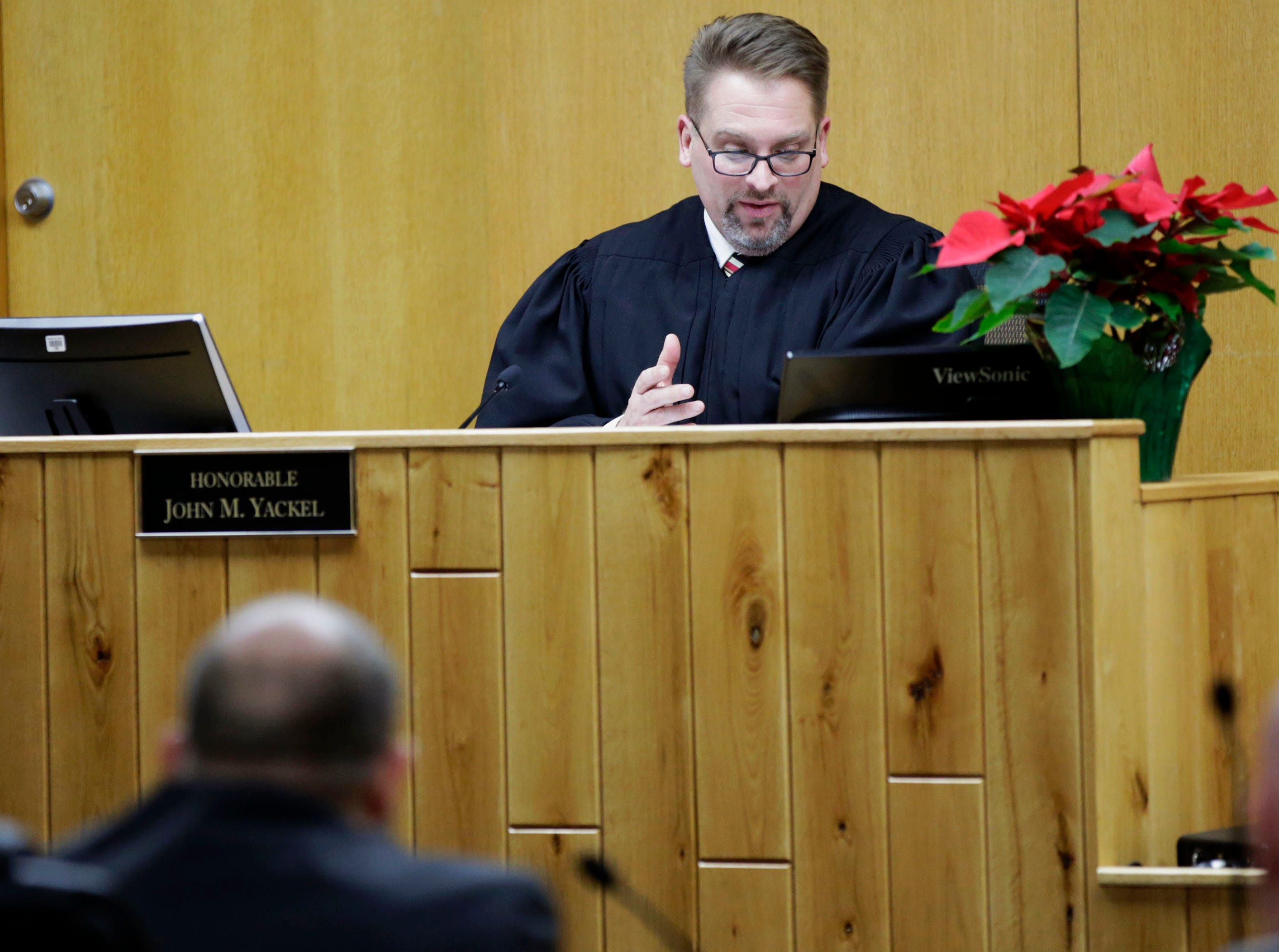 Sawyer County Circuit Court Judge John Yackel addresses the court during a preliminary hearing in the case of former Catholic priest Thomas Ericksen on Wednesday, December 12, 2018, at the Sawyer County courthouse in Hayward, Wis.Tork Mason/USA Today NETWORK-Wisconsin