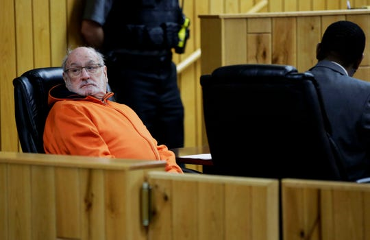 Former Catholic priest Thomas Ericksen looks back on the gallery during a preliminary hearing on Wednesday, December 12, 2018, at the Sawyer County courthouse in Hayward, Wis. Ericksen is accused of sexually assaulting three children between June 1982 and April 1983.