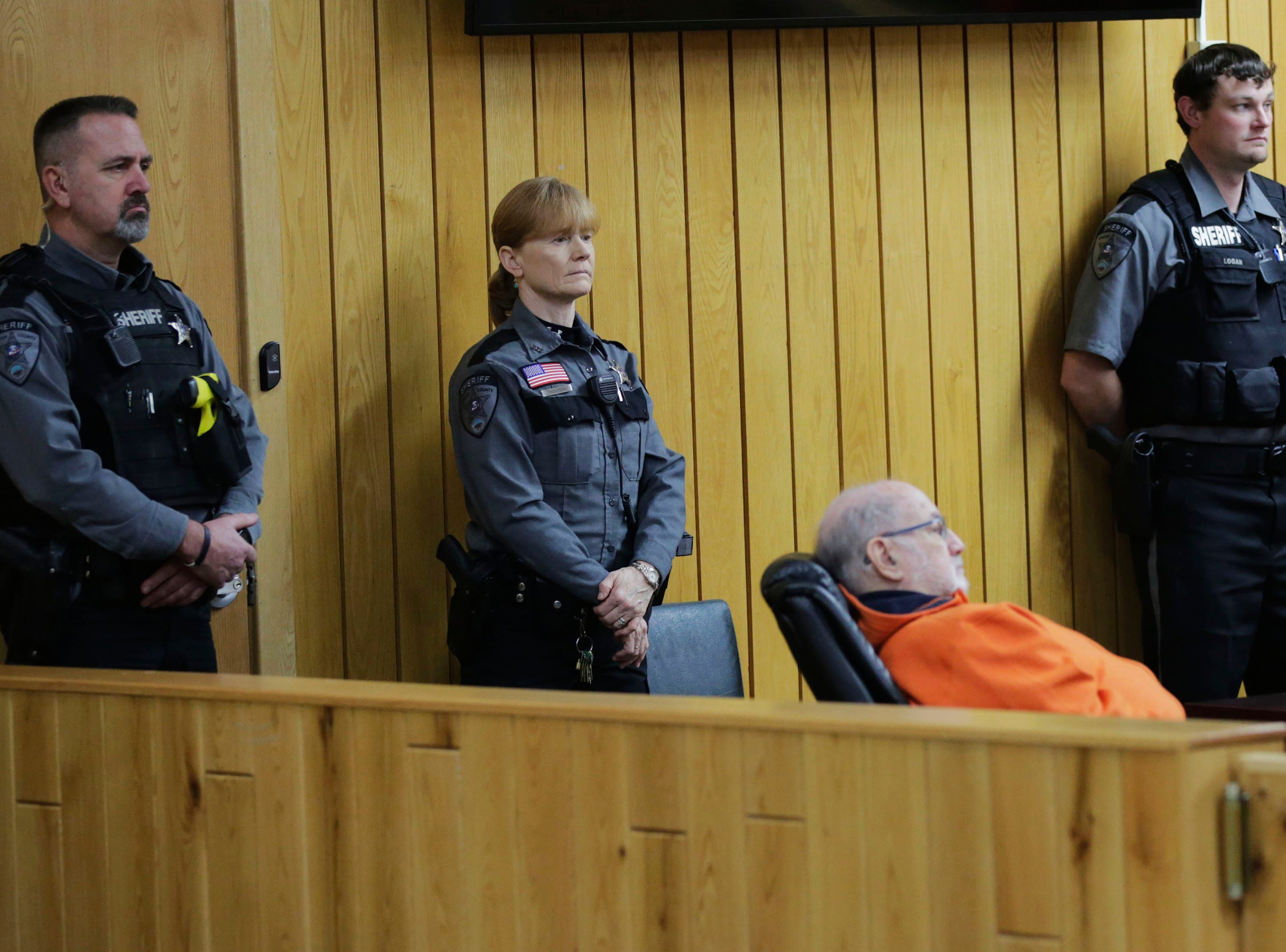 Sawyer County Sheriff's deputies stand guard during a preliminary hearing in the case of former Catholic priest Thomas Ericksen on Wednesday, December 12, 2018, at the Sawyer County courthouse in Hayward, Wis.Tork Mason/USA Today NETWORK-Wisconsin