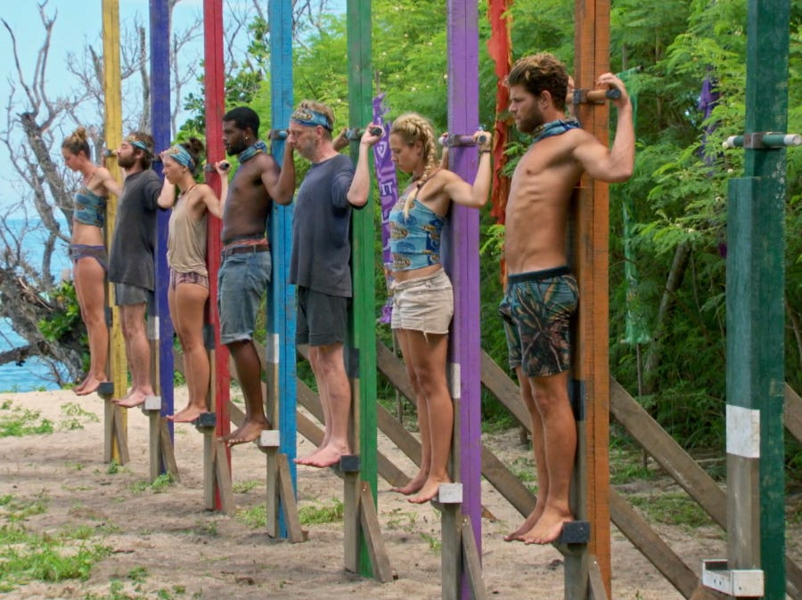 """Survivor"" episode 10:  Alison Raybould, Christian Hubicki, Gabby Pascuzzi, Davie Rickenbacker, Mike White, Kara Kay and Alec Merlino compete in an individual immunity challenge."