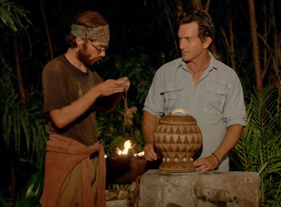 """Survivor"" episode 12:  FAMU/FSU professor Christian Hubicki at tribal council"
