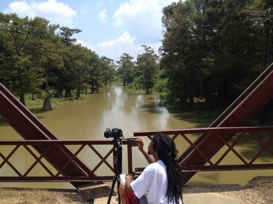 Pablo Correa at the Black Bayou Bridge in Glendora, Mississippi, the site where it is said the body of Emmett Till, who was lynched in 1955, was dumped into the river.
