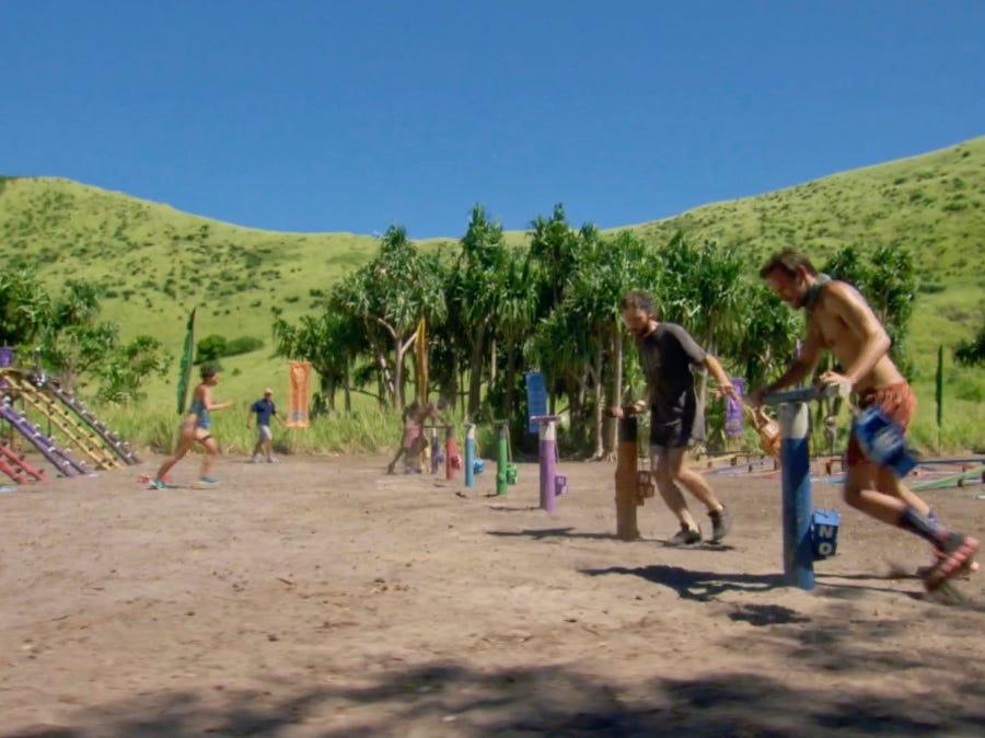"""Survivor"" episode 11:  Contestants compete in a challenge."
