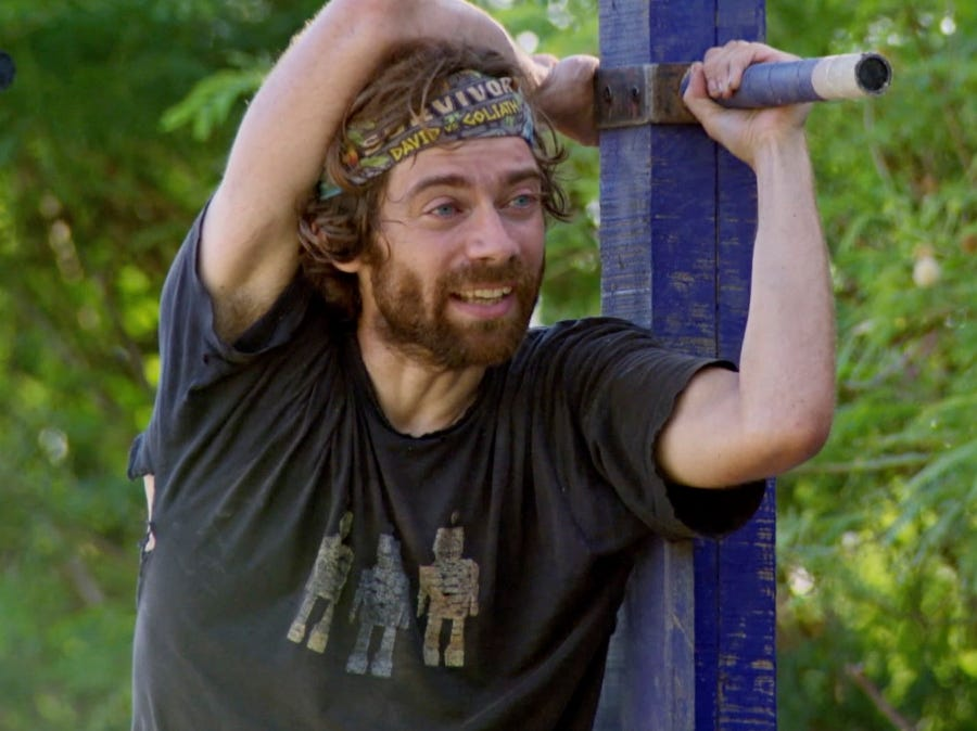 """Survivor"" episode 10:  FAMU/FSU robotics professor Christian Hubicki competes in an individual immunity challenge."