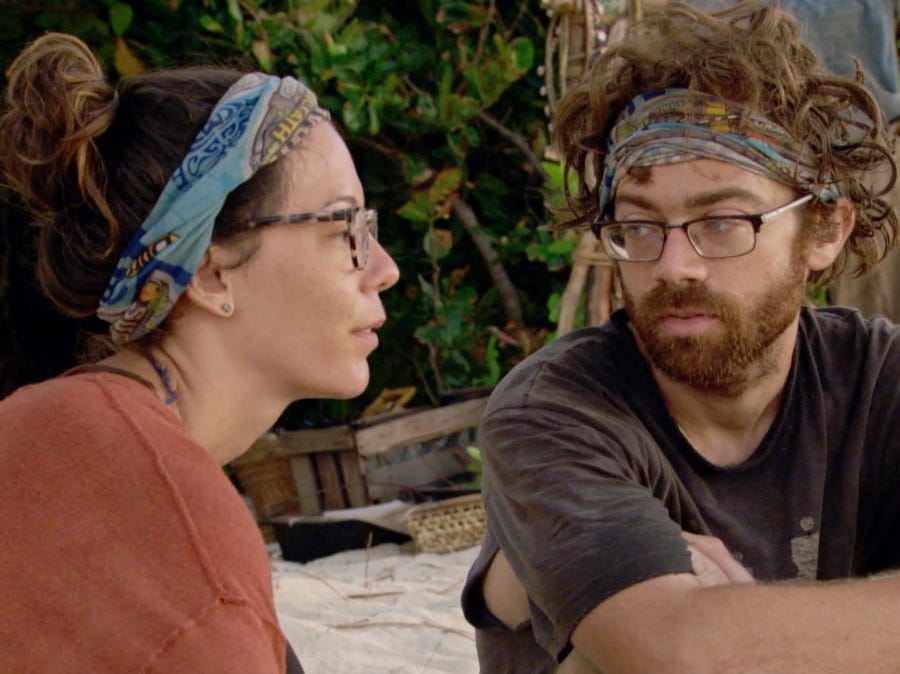 """Survivor"" episode 11:  Gabby Pascuzzi and Christian Hubicki confer about strategy."