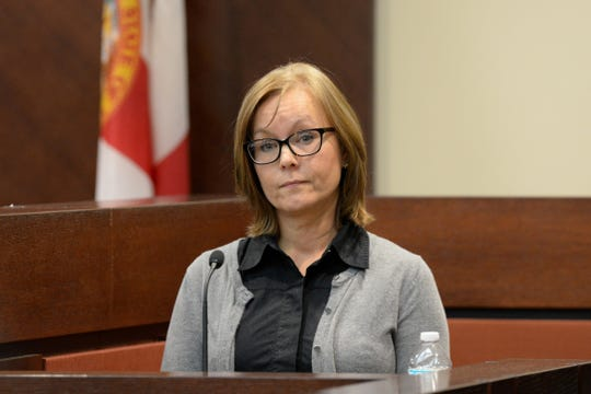 Kathy Thomas, ex-wife of Brian Winchester, testifies in the trial of Denise Williams for the murder of her husband Mike Williams at the Leon County Courthouse Thursday, Dec. 13, 2018.