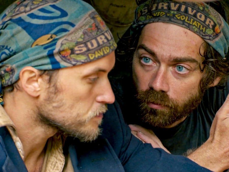 """Survivor"" episode 13:  FAMU/FSU professor Christian Hubicki and Nick Wilson confer about strategy."