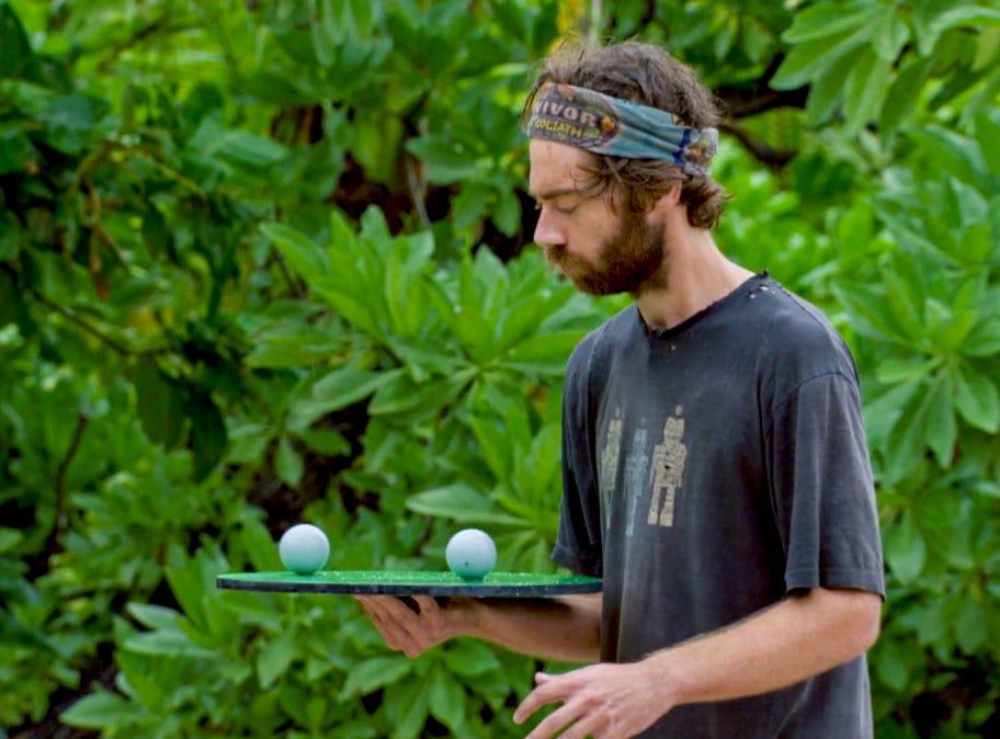 """Survivor"" episode 13:  Christian Hubicki  competes in a challenge."